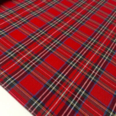 RED ROYAL STEWART TARTAN 100% FINE WEAVE COTTON CHECK FABRIC Christmas  • 4.99£