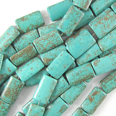 $6.99 • Buy 25mm Blue Turquoise Rectangle Pillow Beads 16  Strand