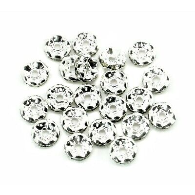 £3.19 • Buy 20 Clear Rhinestone Rondelle 8mm Spacer Beads Wavy Silver Plated J00508C