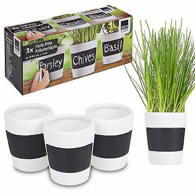 3 X Ceramic Herb Plant Pots + Chalk Board Home Kitchen Garden Planters Plantpots • 7.99£