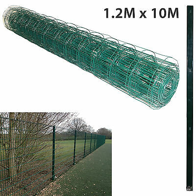 1.2M X 10M PVC Coated Green Mesh Chicken Rabbit Wire Fence Fencing & 1.5M Posts • 39.99£