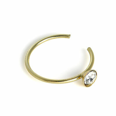 AU16.49 • Buy 9ct Gold & 2.5mm CZ Crystal Open Nose Hoop Ring 375 Piercing Body Jewellery