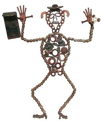 $3795 • Buy An Extraordinary 1950's Large Folk Art Metal Mailbox Man From Chain, Car Parts.