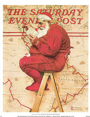 $ CDN19.99 • Buy Norman Rockwell Christmas Print SANTA AT THE MAP 1939