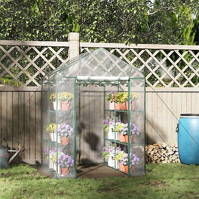 £49.99 • Buy Walk In Greenhouse Garden Grow House Plant Shelving Clear Outdoor
