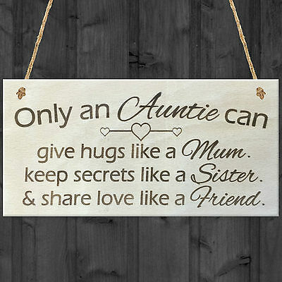 Only An Auntie Wooden Hanging Plaque Shabby Chic Love Hearts Sign Aunt Gift • 3.99£
