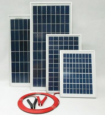 £16.45 • Buy 10w 30w 40w Solar Panel For 12v Battery W 4m Cable Block Diode & Alligator Clips