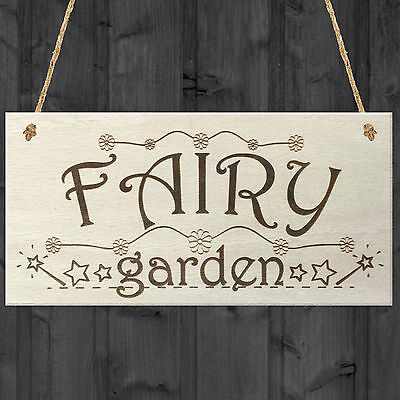 £3.99 • Buy Fairy Garden Wooden Hanging Plaque Shabby Chic Fairies Pixies Fairy Sign Gift