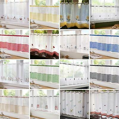 Voile Cafe Panel Kitchen Bathroom Ready Made Net Curtains 18  & 24  Available  • 8.50£
