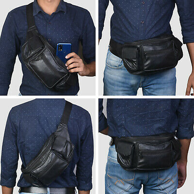 $14.12 • Buy Leather Fanny Pack Belt Waist Pouch Hip Travel Purse Large Mens Womens Black New