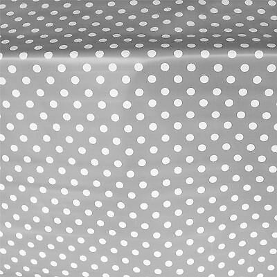 French Grey Pvc Large Polka Dot Oilcloth Vinyl Fabric Table Wipeclean Tablecloth • 4.99£