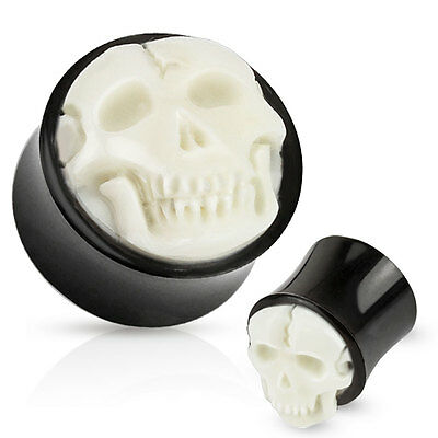 $14.95 • Buy Pair Of Bone Skull Hand Carved Inlay With Organic Horn Saddle Ear Plugs