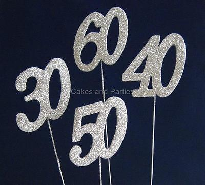 £1.99 • Buy Silver Glitter Numbers On Wire - Cake Decoration, Floristry - New