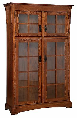 $1749 • Buy Amish Solid Wood Bookcase Mission Arts & Crafts Glass Door 46  X 72