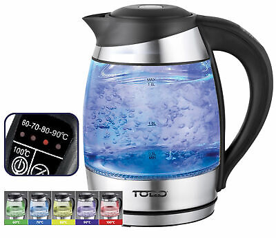 AU49 • Buy TODO 1.8L Temperature Control Glass Cordless Kettle 2200W Led Water Jug Black