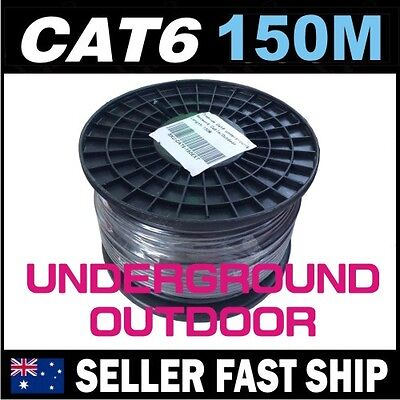 AU139 • Buy 150m Black Cat6 Underground UV Outdoor GEL FILL Ethernet Network LAN Cable Roll