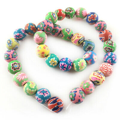 Polymer Clay Round Beads 12mm Mixed 30+ Pcs Art Hobby Jewellery Making Crafts • 3.39£