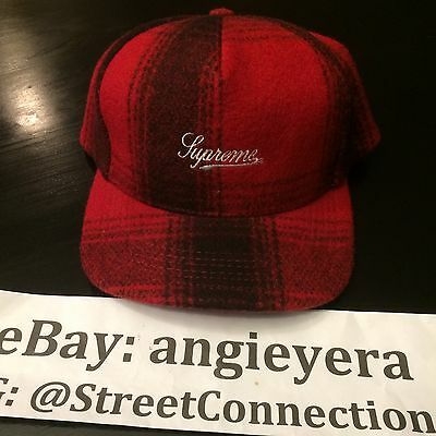 $ CDN129.74 • Buy Supreme Red Flannel Snapback Camp Cap Five Pannel Hat Lumberjack Box Logo Fw O9