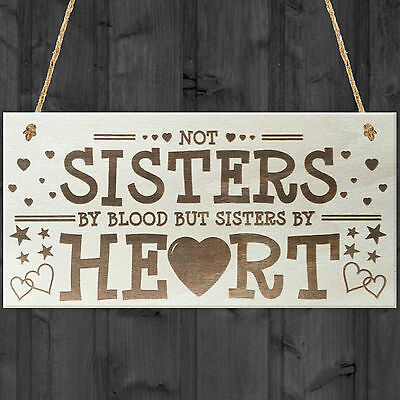 £3.99 • Buy Sisters By Heart Shabby Chic Wooden Hanging Plaque Best Friends Gift Friend Sign
