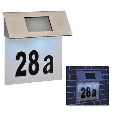 £19.95 • Buy 4 Led Solar Powered Stainless Steel House Door Numbers Outdoor Wall Plaque Sl146