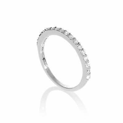 Sterling Silver & Clear CZ Crystal Half Eternity Ring Size H - W • 10.15£