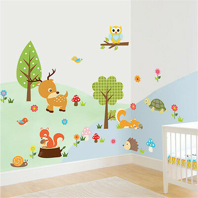 Animal Forest Hedgehog Squirrel Deer Tortoise Child Art Wall Stickers Decals UK • 5.99£