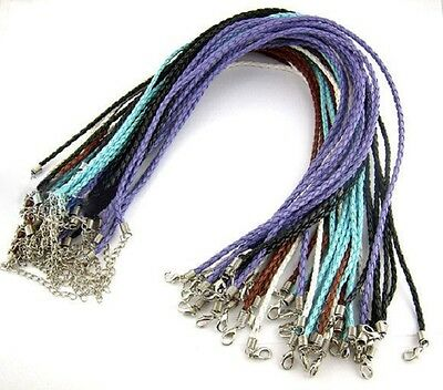 £3.99 • Buy 10 Plaited Necklaces 17  Faux Leather Mixed Colours Braided Cord J00721B