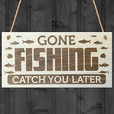 £3.99 • Buy Gone Fishing Catch You Later Novelty Wooden Hanging Plaque Fisherman Gift Sign