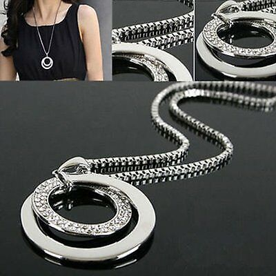 $0.76 • Buy Fashion Women Crystal Rhinestone Silver Plated Long Chain Pendant Necklace Gift