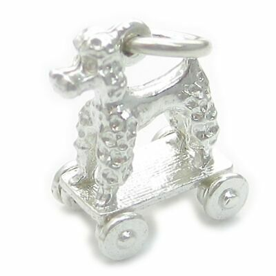 Poodle Toy Dog On Wheels Sterling Silver Charm .925 X 1 Toys Charms • 14.75£