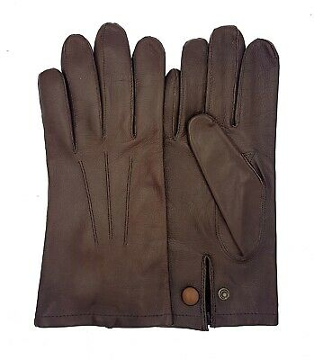Men's Officers Unlined Leather Gloves - New - Black & Brown • 30£