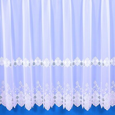£9.30 • Buy Verona Tergal Embroidered Voile Net Curtain In White - Sold By The Metre