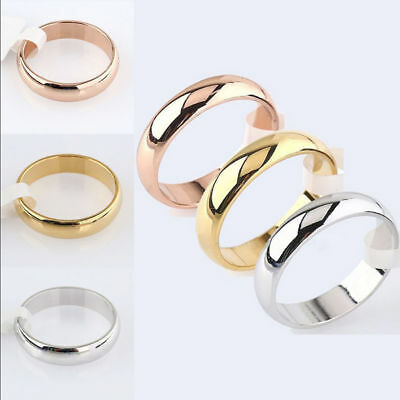 $0.99 • Buy 4mm Band Ring Polished Wedding Women Stainless Steel Size 5-13 Engagement Party