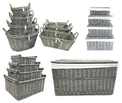 Shabby Chic Grey Wicker Log Big Deep Oval Rectangl Lidded Hamper Storage Basket • 18.99£