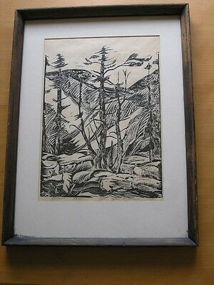 $ CDN151.82 • Buy Vintage Linocut Titled Pines Limited Edition 9/13 By Jim Mathews 1978 Framed