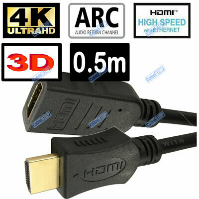 £3.85 • Buy SHORT 50cm HDMI EXTENSION Lead GOLD MALE Plug To FEMALE Socket TV Cable 0.5m