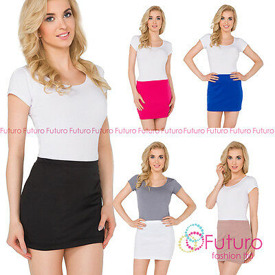 Womens Pencil Mini Skirt Stretchy Summer Elasticated Bodycon Sizes 8-22 PA11 • 5.99£
