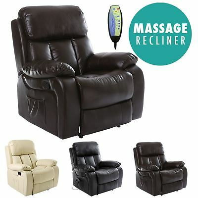 £294.99 • Buy Chester Heated Leather Massage Recliner Chair Sofa Lounge Gaming Home Armchair