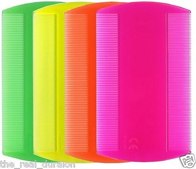 NEON Headlice Double Sided Nit Comb Head Lice Detection Nits Kids Pet Flea X 4  • 2.29£
