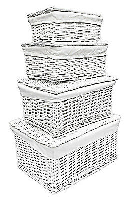 White Lidded Children Kids Baby Nursery Wicker Storage Basket Toy Box Organiser • 16.99£
