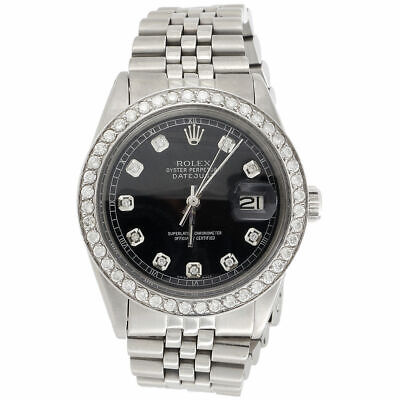 $ CDN7605.86 • Buy Mens Rolex 36mm DateJust Diamond Watch Jubilee Steel Band Custom Black Dial 2 CT