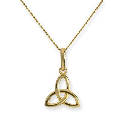 £47 • Buy Real 375 9ct Gold Triquetra Necklace 16 - 20 Inches Celtic Irish Trinity
