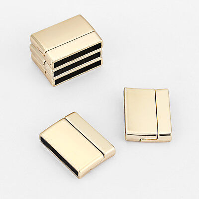 3Sets Matte Gold Flat Magnetic Clasp For Up To 25mm Flat Bracelet Leather Cord • 4.03£