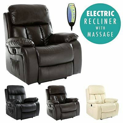 £354.99 • Buy Chester Electric Heated Leather Massage Recliner Chair Sofa Gaming Home Armchair
