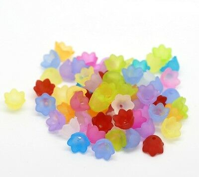 100 Frosted Flower Bead Caps Angel Fairy Charms Acrylic 10mm X 6mm J19756W • 2.49£