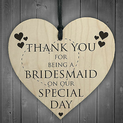 Thank You For Being A Bridesmaid Wooden Hanging Heart Wedding Plaque Gift Sign • 3.99£