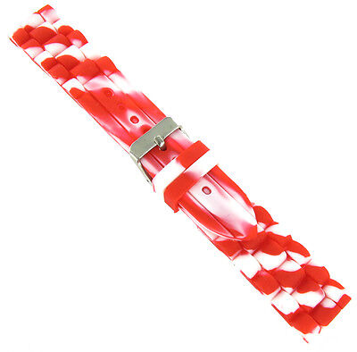 20mm Trendy Candy Cane White Red Rubber Silicone Waterproof Watch Band Strap • 10.12£