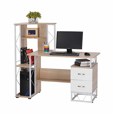 £67.99 • Buy Computer Desk 2 Drawers Multi-Shelves Study Workstation PC Table Office