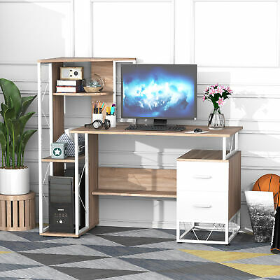 HOMCOM Computer Desk 2 Drawers Multi-Shelves Study Workstation PC Table Office • 137.99£