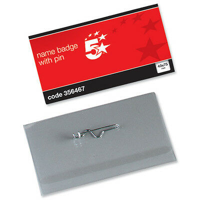 Name Visitor ID Badges Plastic With Pin & Inserts 40x75mm - 356467 • 61.99£